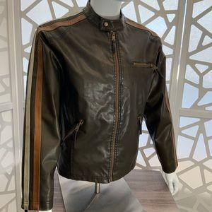 Arizona Jean Co Distressed Faux Leather Zip Jacket